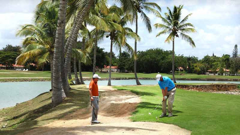 "Golfers playing at Casa de Campo ""Links"" course"