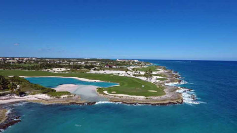 Aerial golf view of the second and third holes punta espada