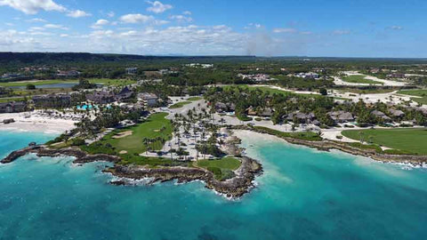 Aerial view of Punta Espada golf course from caribbean teetimes drone