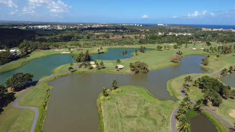 Aerial view from drone of Dorado Beach Sugarcane Course