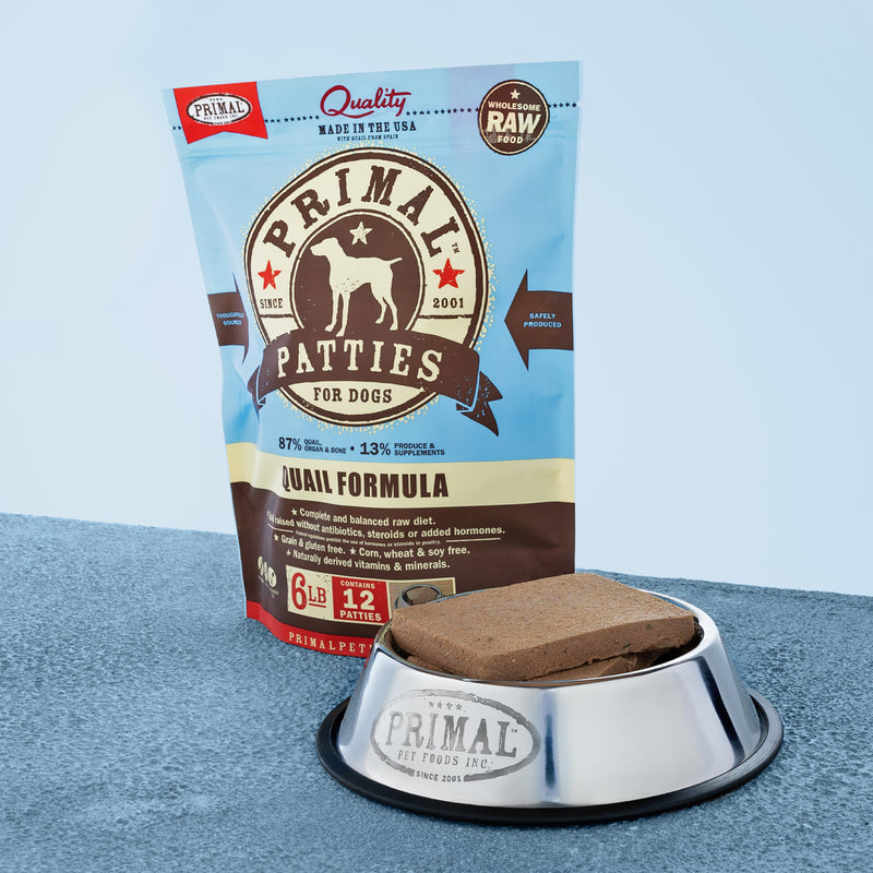 Canine Raw Frozen Patties <br> Quail