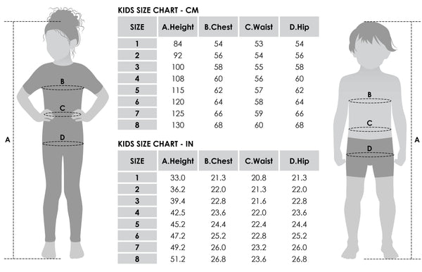 Kids size chart for Style Arc sewing patterns