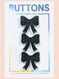 "Tabitha Sewer: Black Glitter Bow Button 0.81""/20.5mm"