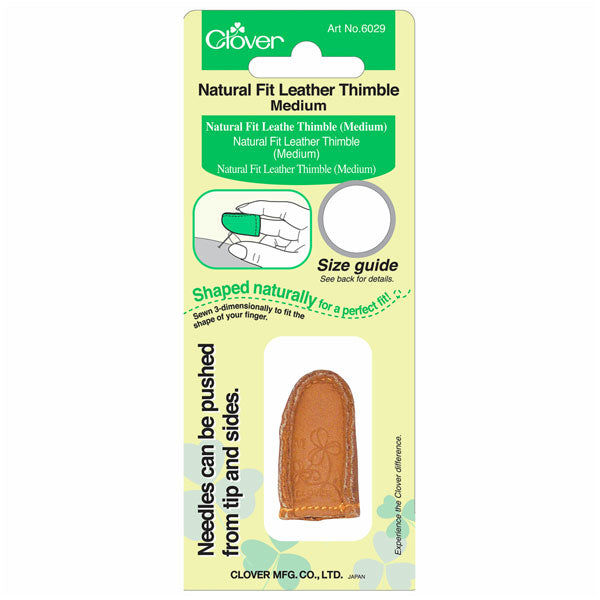 Clover Natural Fit Leather Thimble: Medium