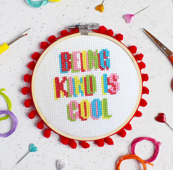 "The Make Arcade: ""Being Kind Is Cool"" Cross Stitch Kit"