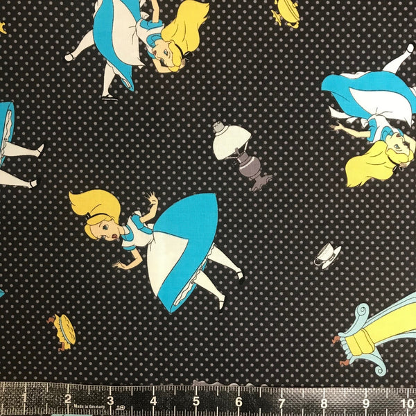 Camelot Fabrics: Disney Alice in Wonderland - Falling into Wonderland in Carbon