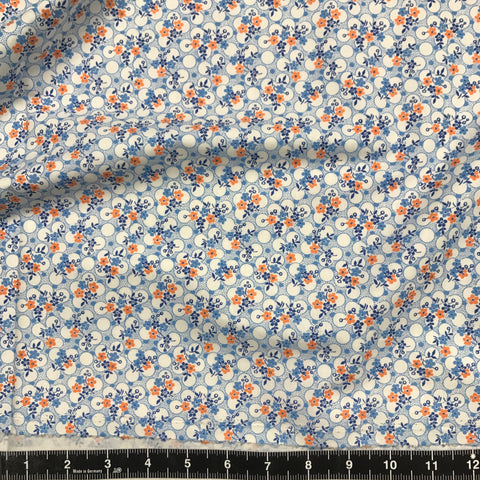 Washington Street Studio: Vintage 30s Floral - Blue & Orange Floral