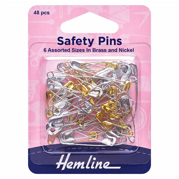 Hemline Safety Pins: Assorted Value Pack - 48pcs