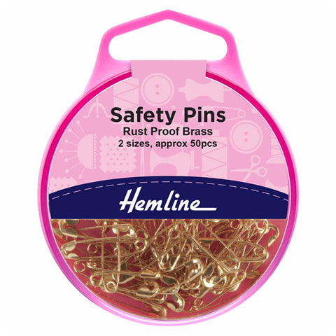 Hemline Safety Pins: Brass - 19mm/23mm, 50pcs