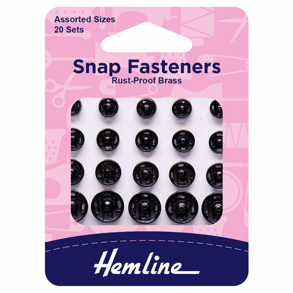 Hemline Sew On Snap Fasteners: Assorted - Black