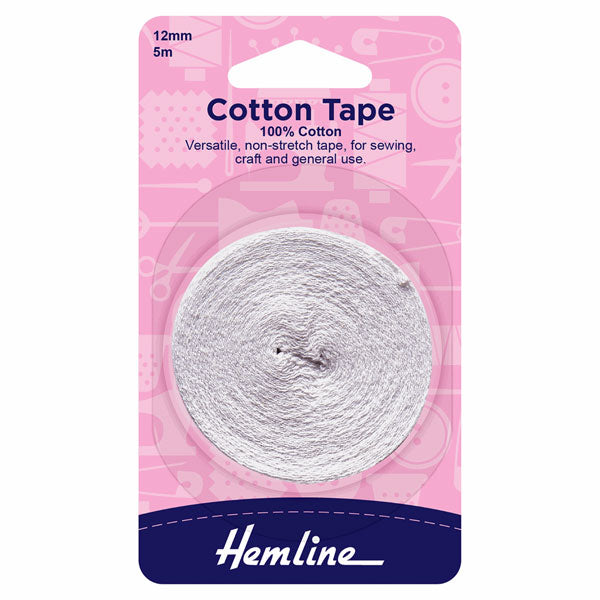Hemline Cotton Tape: White - 5m x 12mm