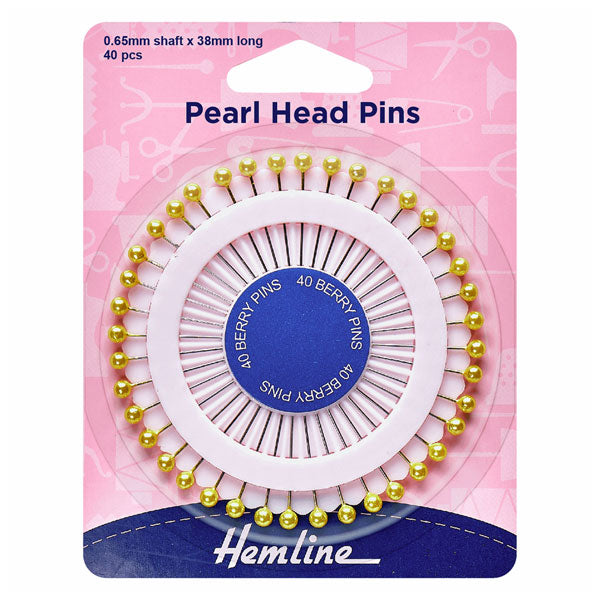 Hemline Assorted Pearl Heads Pins: Gold - 38mm, 40pcs