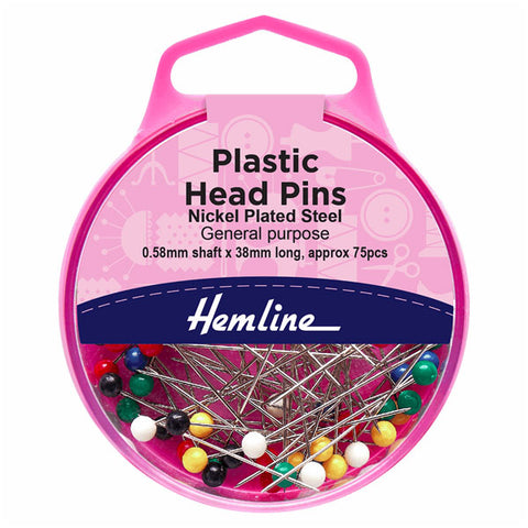 Hemline Plastic Coloured Heads Pins: Nickel - 38mm, 75pcs