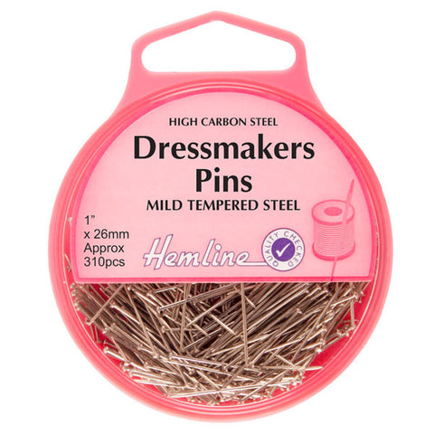 Hemline Dressmaker Pins: Nickel: 26mm, 310pcs