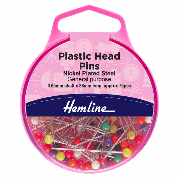 Hemline Plastic Head Pins:  Nickel - 38mm, 75pcs