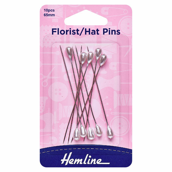 Hemline Florist/Hat Pins: Nickel - 65mm, 10pcs