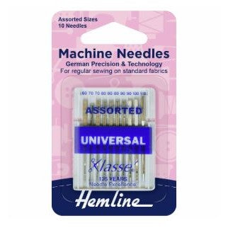 Hemline Universal Machine Needles: Mixed (Pack of 10)