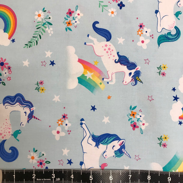 Robert Kaufman: Happy Little Unicorns - Aqua
