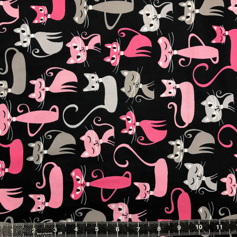 Robert Kaufman: Urban Zoologie - Black & Pink Cats BOLT END: 0.9M
