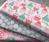 Blend Fabrics: Kringle Sweet Shop - Frosted Snowflakes Grey (Glitter Print)
