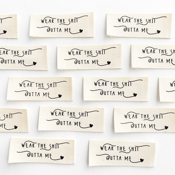 "Kylie and the Machine: ""Wear the Sh*t Outta Me"" Woven Labels - Pack of 8"