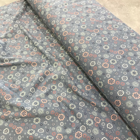 John Louden: Blue/Grey Small Flowers Cotton Jersey BOLT END: 0.8M