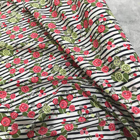 Floral Striped Cotton Lawn