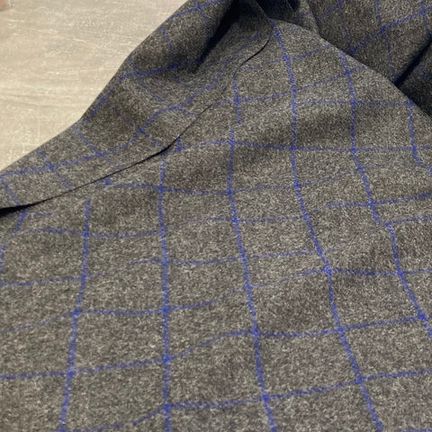 Ex-Abraham Moon Blue/Grey Check Wool