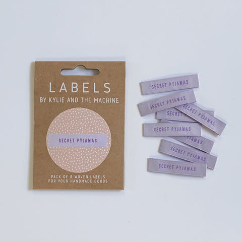 "Kylie and the Machine: ""Secret Pyjamas"" Woven Labels - Pack of 8"