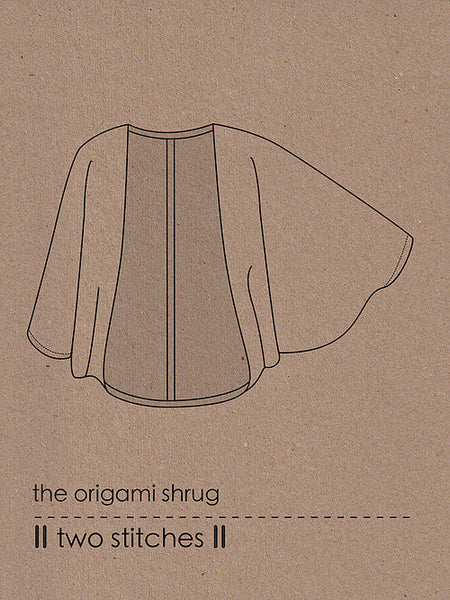 Two Stitches: Origami Shrug Ladies' Sewing Pattern