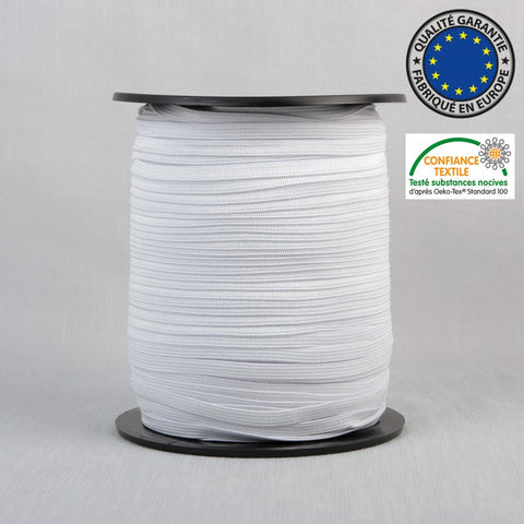 White Braided Elastic: 3mm