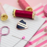 Pink Coat Club: SEAMSTRESS Navy/Gold Hard Enamel Pin