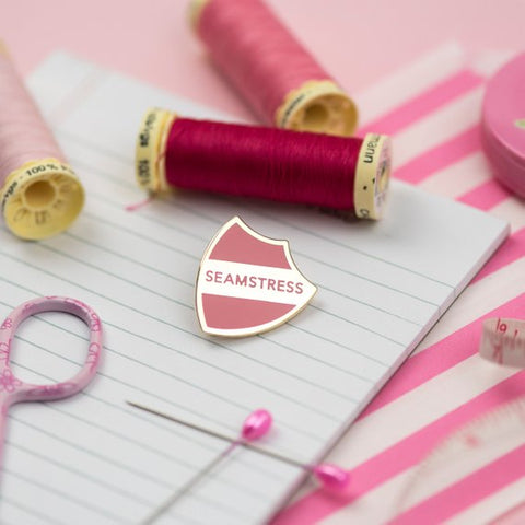 Pink Coat Club: SEAMSTRESS Baby Pink/Gold Hard Enamel Pin