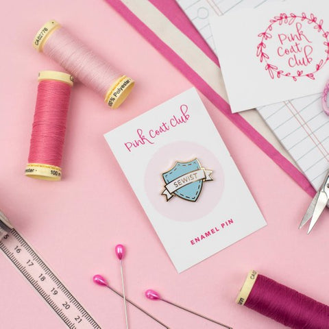 Pink Coat Club: SEWIST Baby Blue/Gold Hard Enamel Pin