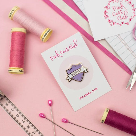 Pink Coat Club: SEWIST Lilac/Gold Hard Enamel Pin