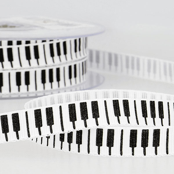 Piano Keys White Cotton Tape: 10mm