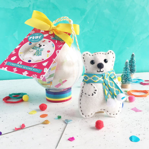 "The Make Arcade: ""Percy Polar Bear"" Christmas Bauble Sewing Kit"