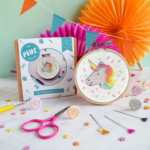 The Make Arcade: Unicorn Mini Cross Stitch Kit
