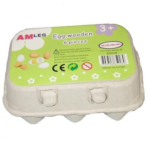 Wooden Play Food Eggs and Carton by MaMaMeMo