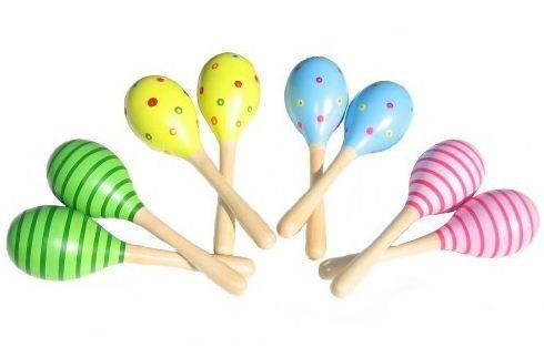 Set of 2x Premium Wooden Musical Maracas by AM Leg