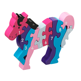 Fair Trade 1-10 Pink Horse Jigsaw by Lanka Kade