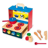 Wooden Mobile Play Kitchen with Utensils