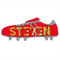 Fair Trade Long Red Football Boot Name Plaque (with up to 8 Wooden ANIMAL Letters)