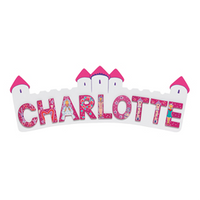 Fair Trade Long Pink & White Castle Name Plaque (with up to 9 Wooden FAIRYTALE Letters)