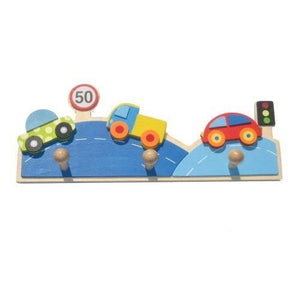 Childrens Wooden Car Coat Pegs Rack by AM Leg