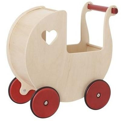 Natural Wooden Dolls Pram by Moover