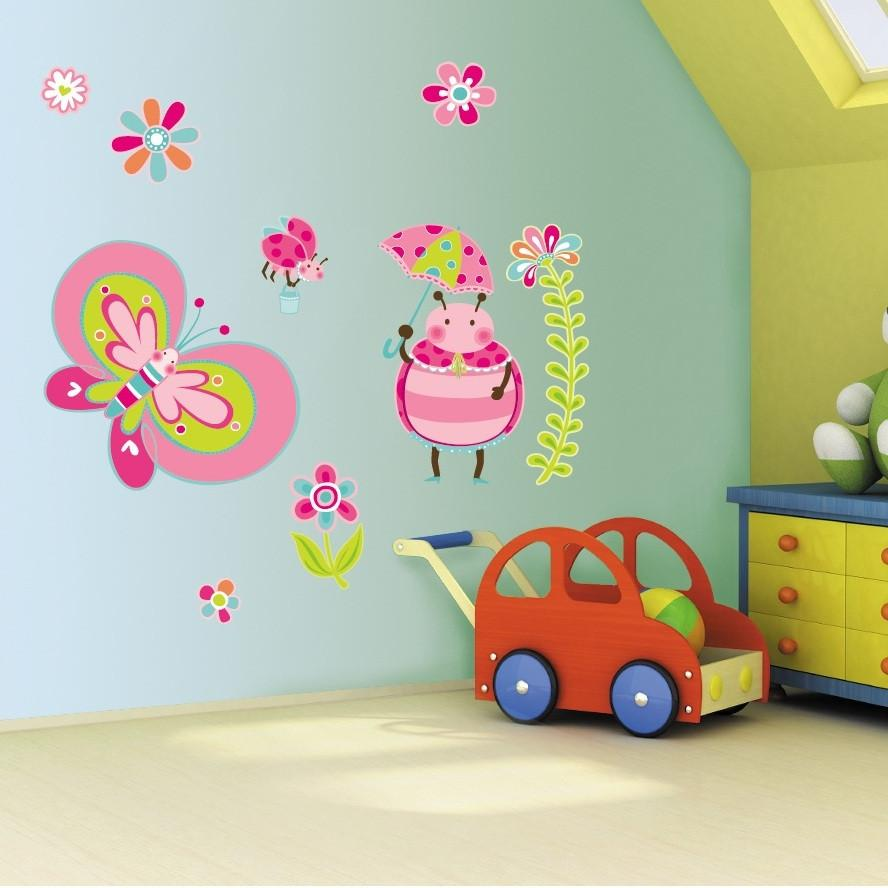 Girls Bedroom Pink Butterfly Wall Art Stickers