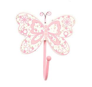 Pink Butterfly 1x Single Coat Hook