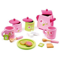 Childrens Wooden Pink Toy Tea & Biscuit Play Set