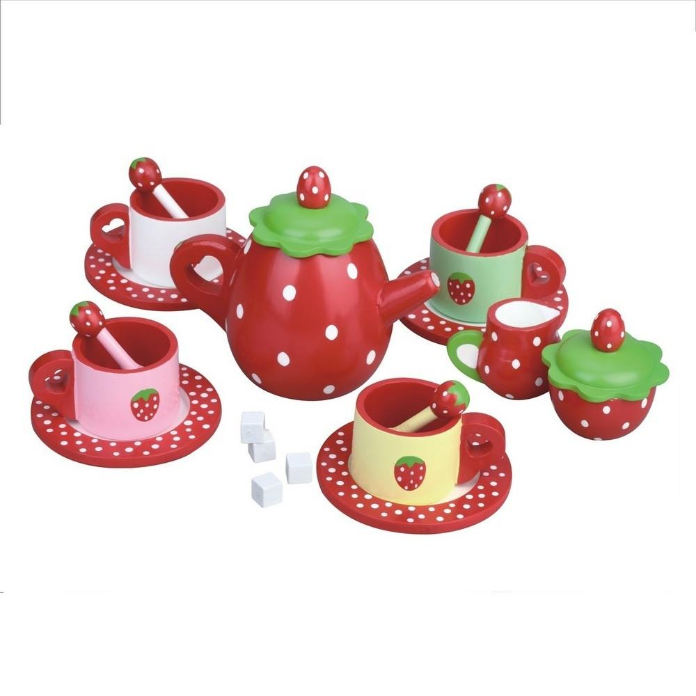 Childrens Wooden Strawberry Tea Set by MaMaMeMo